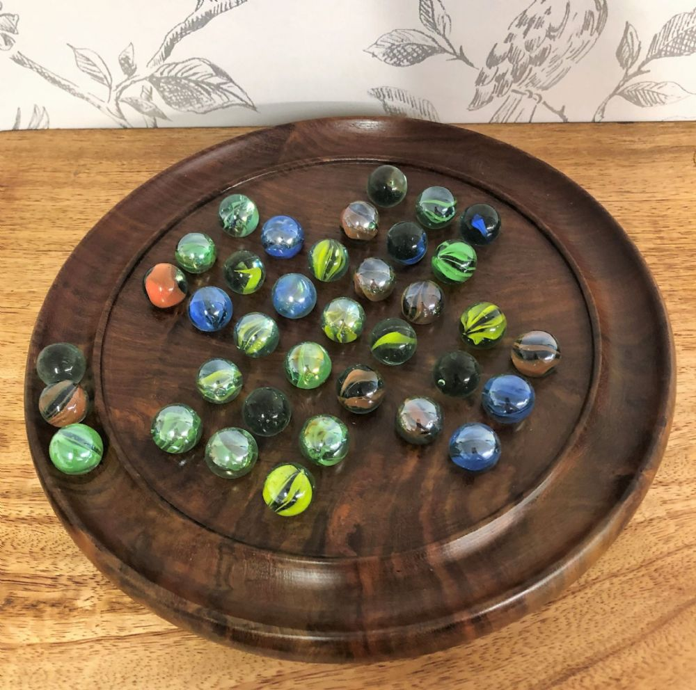 "Hand Crafted Wooden 9"" Solitaire Puzzle Board & Marbles"